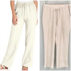 ❤️ Ellen Tracy Linen Drawstring Casual Pants
